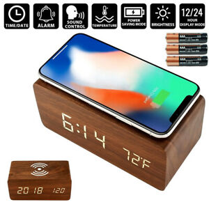 Wooden Digital LED Desk Alarm Clock Thermometer Qi Wireless Charger Wood Modern