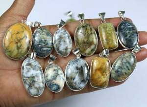 Natural Dendrite Agate Pendant Bezel, 100 Piece Silver Plated Pendant