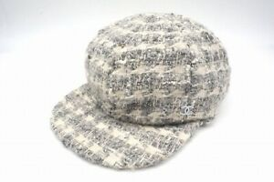 AUTH CHANEL TWEED CASQUETTE HUNTING CAP CASHMERE COCO MARK GRAY SHIPPING FREE