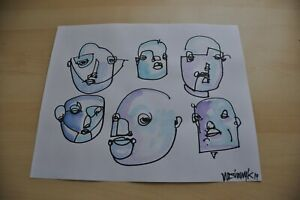 Faces Drawing 11x14 Original Art Modern OUTSIDER GRAFFITI Contemporary Indie