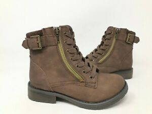 NEW SO Youth Girls Alberta Zipper Lace Up Boots Brown #213532 190GG tk $20.99