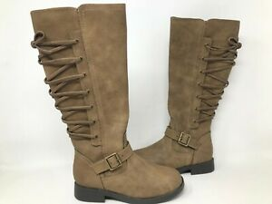 NEW SO Youth Girls Kimberly Tall Zipper Buckle Boots Taupe #99042 191BBCCDD tk $20.99