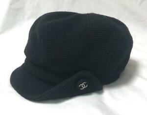 AUTH CHANEL CASQUETTE HUNTING CAP WOOL SIZE:58 SUPER RARE CC LOGO SHIPPING FREE