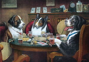 63010 Dogs Playing Poker Wall Print POSTER CA