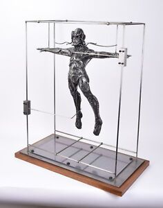 """Large Ted Gall """"A Prototype"""" Surrealist Suspended Man Metal Sculpture"""