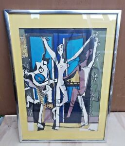 Three 3 Dancers Pablo Picasso VINTAGE LITHOGRAPH PRINT signed framed