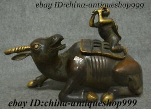 15 Old China Purple Bronze Gold Tongzi Ox Boy Oxen Incense Burner Censer Statue