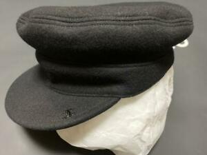 AUTH CHANEL CASQUETTE WOOL BLACK HUNTING CAP SIZE: M COCO MARK SHIPPING FREE