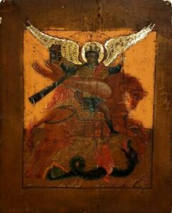 ANTIQUE 19C HAND PAINTED RUSSIAN ICON OF ST.MIHAIL $899.00