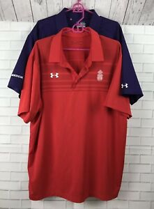 Lot of 2 Under Armour Loose Heatgear Polo Golf Shirts Mens Size XXL 2XL