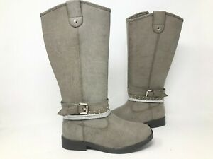 NEW SO Youth Girl#x27;s Raylene Zip Up Tall Riding Boots Grey #99042 195LMN tk