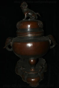 30 Old China Dynasty Bronze Lion Elephant Heffalump Head Incense Burner Censer