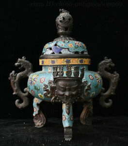 20 Old China Bronze Cloisonne Enamel Mahakala Head Beast Incense Burner Censer