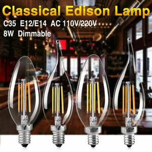 Dimmable Edison Filament COB LED Bulb Candle/Flame Evening Party Bar Lights 92A