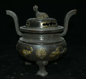 11 China Purple Bronze Gold Horse Bat Incense Burner Censer Incensory Thurible