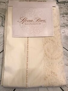 Sferra Madeira Cream Egyptian Cotton-Sateen Hand Embroidery Queen Flat Sheet