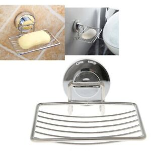 Suction Cup Soap Dish Stainless Steel Bathroom kitchen Shower Sponge Holder
