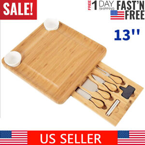 13'' Bamboo Cheese Board w/Cutlery Set Charcuterie Platter Cutting Serving Tray