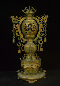 26 Old China Xizhou Dynasty Bronzeware Dragon Bell Pagoda Incense Burner Censer