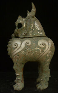 20 Chinese Dynasty Bronzeware Silver Pixiu Unicorn Beast Incense Burner Censer