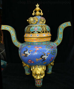 22 China Bronze Cloisonne Enamel Lion Head Bird Elephant Incense Burner Censer