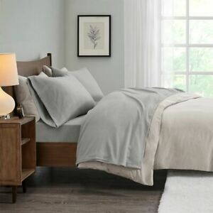 Modern Soft 3pc Solid Grey TWIN Micro Fleece Sheet Set