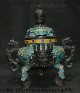 Collect China Bronze Cloisonne Mahakala Head Dragon Incense Burner Censer Statue