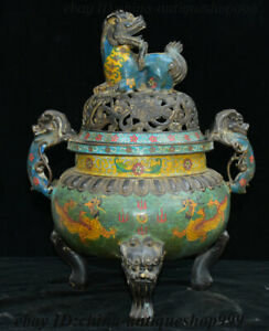 20 Chinese Bronze Cloisonne Enamel Lion Head Pi xiu Beast Incense Burner Censer
