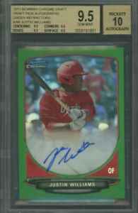 2013 Bowman Chrome GREEN Refractor Justin Williams RC AUTO 75 BGS 9.5 10 $89.95
