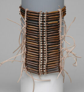 Native American Bone Leather Breast Chest Plate Protection Necklace Coffee $29.95