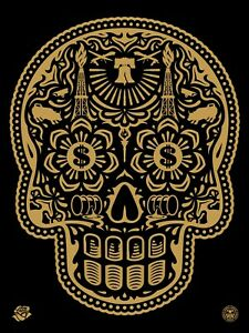 POWER & GLORY DAY OF THE DEAD SKULL : SIGNED SCREEN PRINT : OBEY :SHEPARD FAIREY