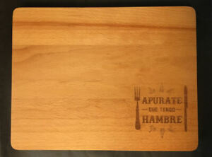 Small Thick Butcher Block Wood Cutting Chef Board Cheese Tray *Engraved Spanish