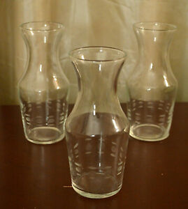Vintage Wine Glasses Individual Mini Decanters Etched Personal Size Carafes $17.00
