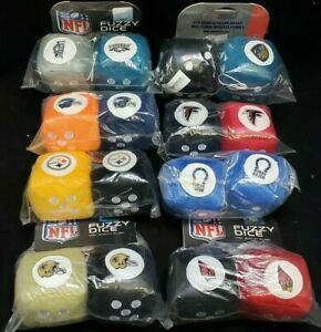 NFL Car Truck Rear View Mirror Soft Plush Fuzzy Hanging Dice YOU PICK TEAM A52
