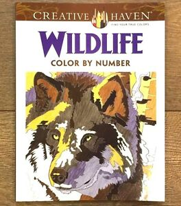 ADULT COLORING BOOK WILDLIFE COLOR BY NUMBER CREATIVE HAVEN