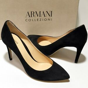 $695 Armani Women's Black Suede Leather 10 40 Pointed Toe Stiletto Heels Pumps