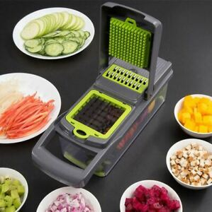 New 7in1 Vegetable & Fruit Slicer Dicer Grater Kitchen Multi tool Bonus Strainer