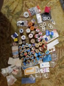 Vintage Sewing Spools lot of 48 mixed colors and spool type Wood Plastic $10.50