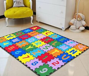 Kids Rugs For Kids Room ABC Puzzle Letters/Numbers Kids Educational play mat