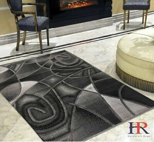 Grey Silver Black Abstract Area Rug Modern Contemporary Circles and Wavey... $94.90