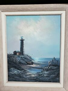Artist Everett Woodson Lighthouse oil painting Driftwood Weathered look Frame $140.00