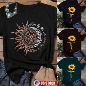 Womens Sunflower Print Shirts Short Sleeve Tops Loose Blouse Round Neck T Shirt $13.67