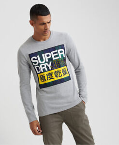 Superdry Mens Crafted Check Long Sleeved T Shirt $17.48