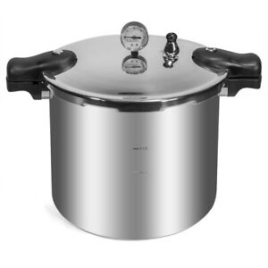 22 Quart Pressure Cooker Canner Build in Dial Gauge Induction Compatible Stove