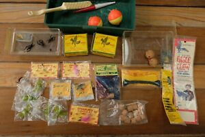 Vintage Fly Fishing Collection Lot Flies Hooks Split Shot Tackle Box Cork