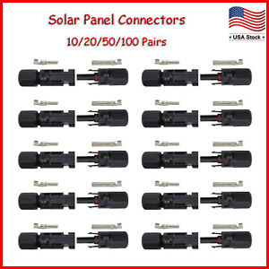 Waterproof Male Female M/F Wire Cable Connector Set Solar Panel 10/20/50/100pcs