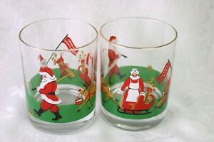 2 Christmas Santa Golf Glasses On the Rocks Old Fashioned BBA Vintage Barware
