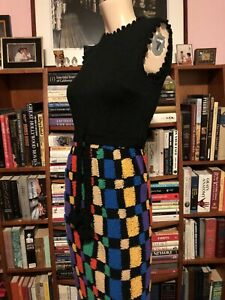 Vintage 1960s PARADE Fitted KNIT CROCHET COLOR BLOCK Maxi Gown Dress POM POMS