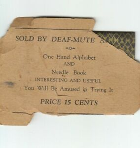 Sewing Kit Vintage Sewing Needles Package Used Sold By Deaf Mute Antique $9.00