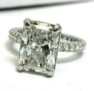 Platinum size 4.5 engagement ring  5.22ct radiant diamond D/SI1 GIA 6177509251
